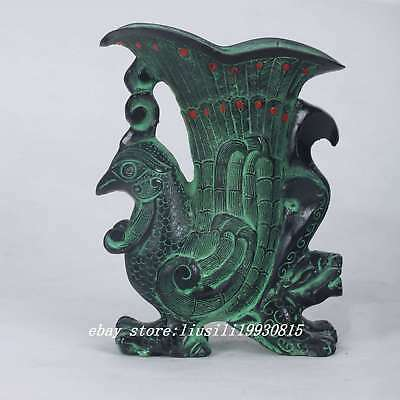 Collectible Chinese Bronze Handwork Carved Peacock Glass Cup