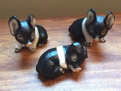 Adorable Triplet PIGLETS Harvey Knox Kingdom Japan Figurines Stamped Collectible