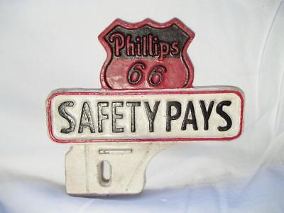 Cast Iron Phillips 66 Oil Gas Safety Pays Car License Plate Topper Fob Advertise