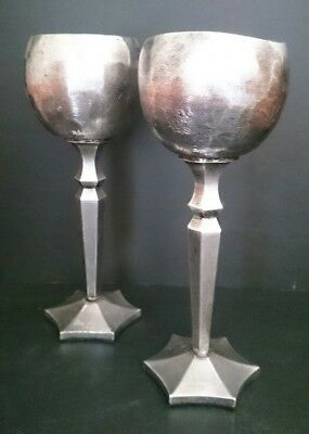 Pair Don Sheil Signed Beaten Metal Goblets 1975 -Handmade- Gothic Collectible