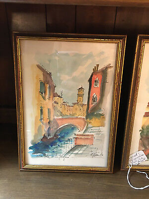 Pair Framed Signed Watercolors Antique VENICE VERY NICE 8x10 Framed