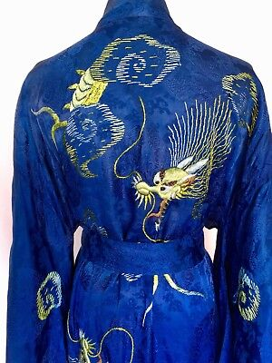 Vintage Kimono Long Belted Unisex Blue Embroidered Dragons One Size