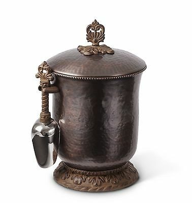 The GG Collection Gracious Goods Antique Cooper Ice Bucket with Scoop - New
