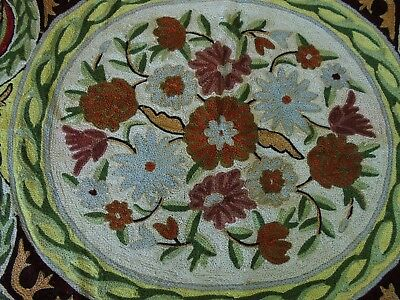 Vintage Hand Woven Kashmir Silk Floor Rug Or Throw Floral Rosette
