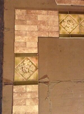 Complete Set Vintage Victorian Antique Fireplace Tile  Mantle Tiles Cambridge