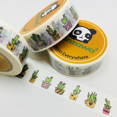Washi Tape Cactus Succulents In Pots 15Mm X 10Mtr Roll Plan Craft Scrap Wrap