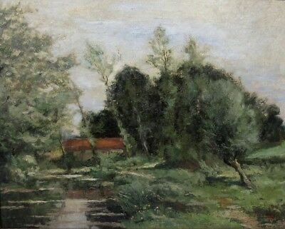 Fernand Ley (b.1879), Vintage Belgian Oil Painting, Landscape with River, 1942