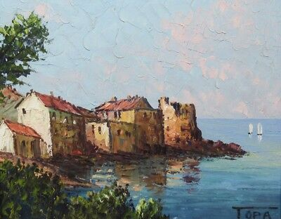 Vintage French Oil Painting, Seascape, Boats, Tower, Erbalunga, Corsica, Signed