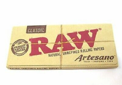 Raw Organic Artesano King Size Slim Rolling Papers + Tips + Tray Smoking Tobacco