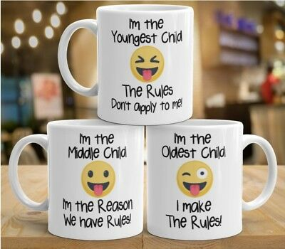 Youngest Middle Oldest Child Sister Brother Gift Mug Siblings Rules Emoji Coffee