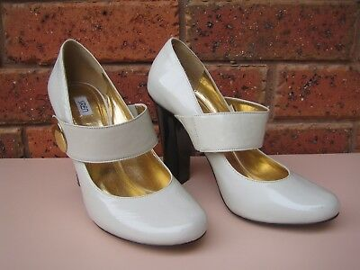Siren Off White Leather Mary Jane Heels 9 (40) Races Cocktail . Near New. ######