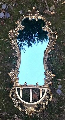 Antique Vintage Early 20th C. Large Wooden Gilded Ornate Mirror 36""