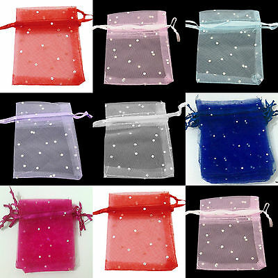 Organza Gift bags with sparkling dots 10x12cm Wedding favour Bags UK seller