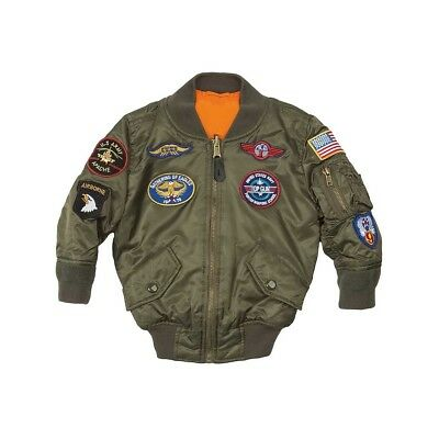 Alpha Industries Kids MA-1 Flight Jacket With Patches Sage Green YJM21001C1