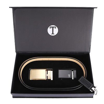 Tonywell Mens Leather Ratchet Belt 35mm Belt with Distinctive Buckle Gift Box AU