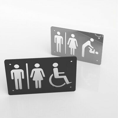 Toilet Sign Male & Female Disabled Gents Ladies Baby Acrylic Mirrored Door Sign
