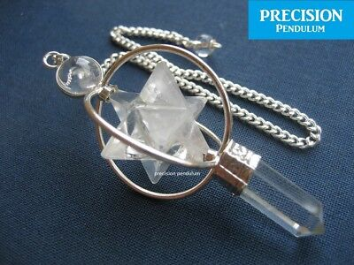 Clear Quartz Spinning Merkaba Star Crystal Precision Pendulum Healing Gemstone