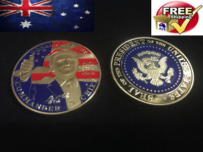 Gold Plated Donald Trump 45th collectible Eagle gift Bitcoin Coin Art Collection