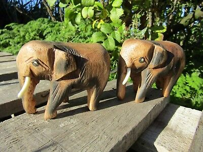 Fair Trade Hand Carved Made Wooden Animal Wild Elephant Statues Set Of 2