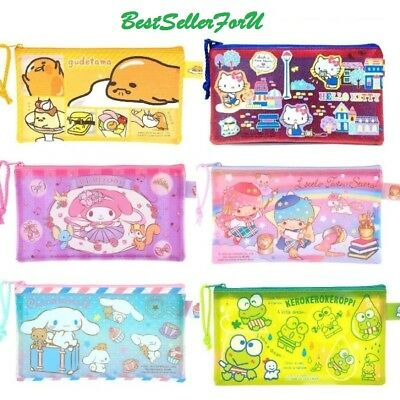 Sanrio Shiny Vinyl Pouch Checkbook Pencil Cosmetic Toiletry Case Travel Mesh Bag