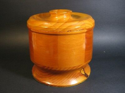 Vintage Australian Hand Made Wooden Jar With Lid . Ht2