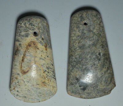 Amazing Chinese Neolithic Ancient Jade Carved Pair Of Celts Ax Axe Adz