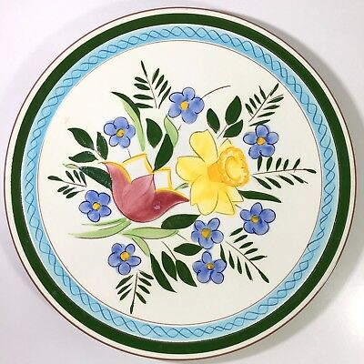 """Stangl Art Pottery Country Garden 12.25"""" Round Chop Plate Platter Signed"""