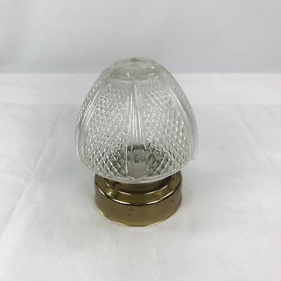 Vintage Clear Glass and Brass Ceiling Light Fixture Kitchen Hall Entry Untested