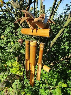 FairTrade Hand Carved Made Large Double Bird Bamboo Coconut Windchime Wind Chime