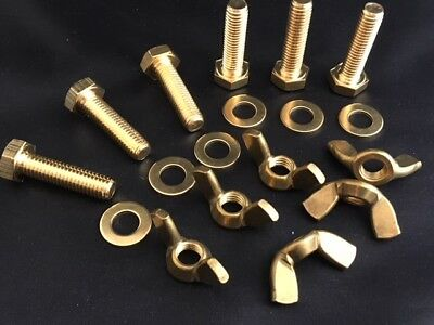 M5 Brass Bolts Full Thread,Brass Wing Nuts and Flat Washers (Pack of 6,12 or 24)