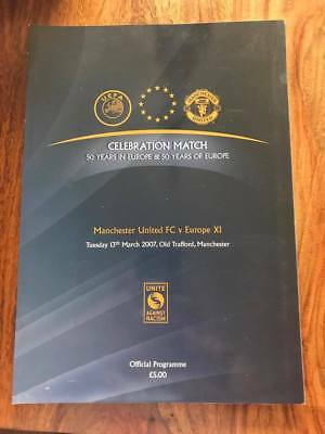 Manchester United V Europe Xi 50 Years In Europe Celebration Match Programme