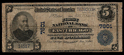 1902 Plain Back $5 East Chicago Indiana, IN National Bank Note Charter #7601