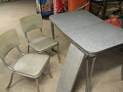 Vintage Retro 1950's FORMICA KITCHEN TABLE & CHAIRS ATOMIC FOR RESTORATION