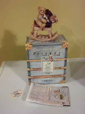 1999 Enesco Cherished Teddies Homer & Friend Bears Rocking Horse Figurine