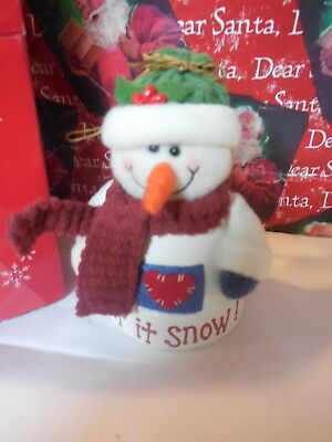 "Avon Snowman ""let It Snow"" Bell Christmas Ornament New In Box 2005 Free Shipping"