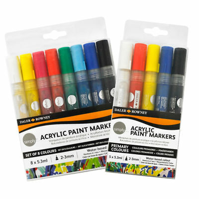Pack of 2 Simply Acrylic Paint Markers 2mm Gold /& Silver Daler Rowney