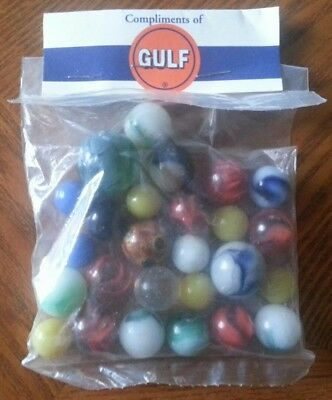 GULF OIL GASOLINE Bag of Marbles*Collectable*Promo*Vintage Look*SHIPS FREE