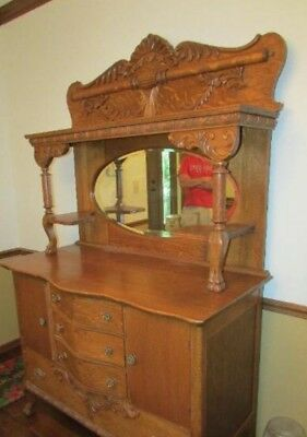 Antique Oak Sideboard/Buffet with Hand Carved Details