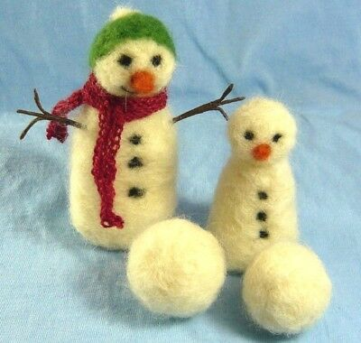 Needle Felting Kit for Fun Snowman snowballs mini snowman seasonal christmas