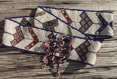 Very Rare Antique 1890-1904 Shoshone Venetian Seed Beaded Gourd Stitch Hat Band