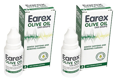 2 X Earex Olive Oil Ear Drops 10ml - Gently Softens and Removes Earwax