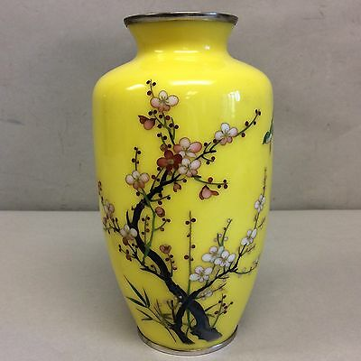 """Japanese Cloisonne Imperial Yellow Silver Mount Vase 7.25"""""""