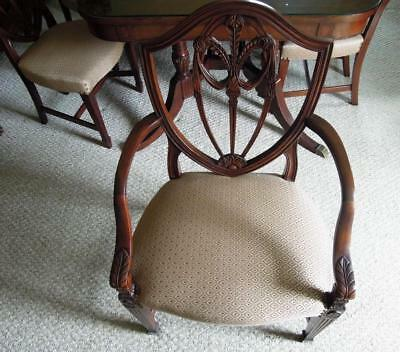 Antique Hepplewhite Dining Room Table Six Shield Back Chairs Mahogany Shade