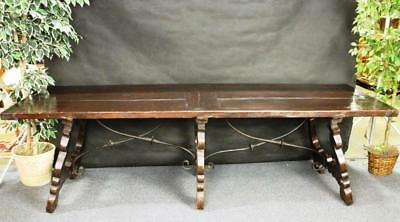 Antique Refectory Table  wrought iron Stretcher Scrolls Very Old Spanish Style