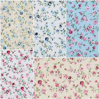 Vintage Floral Shabby Chic Fabric. PInk, White, Blue, Cream. BULK DISCOUNTS!