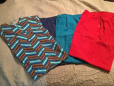 Scrub Bottoms And Top, Lot Of 4, Womens Xl, Red, Teal, Blue