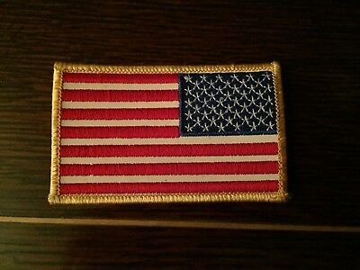 AMERICAN FLAG EMBROIDERED PATCH GOLD BORDER USA US United States NEW