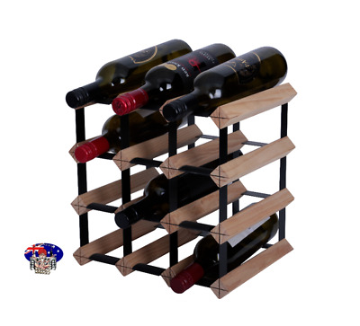 12 Bottle Timber Wine Rack - NATURAL PINE - DIY KIT - Free Delivery