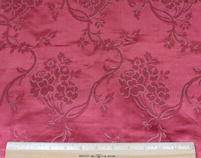 Antique French 19thC Roses & Leaf Deep Pink Silk Damask Fabric c1870-80