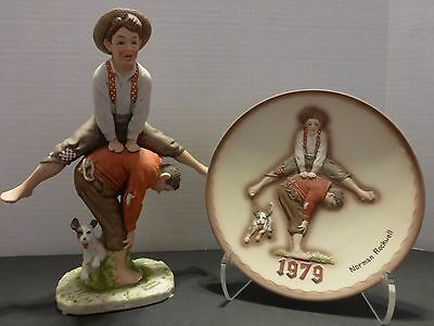 Collectible NORMAN ROCKWELL Rare Limited Edition 1979 Annual FIGURINE and PLATE